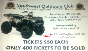 Win this  $10,000 Suzuki King Quad ATV Only 400 tickets to be sold